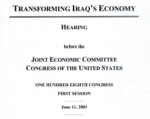 My Congressional Testimony on Iraq in 2003